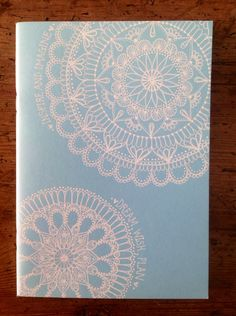 Hand-Decorated Sky Blue Cover Sketchbook by SwirlyGirlPaperArt