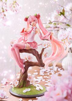 La compañía Taito, dentro de su marca de figuras de gran calidad spiritale, nos presenta la figura a escala 1/7 que le dedica a Hatsune Miku en su versión Sakura Miku. Figura basada en una ilustración de Iwato.  Hatsune Miku, Kaito, Cherry Blossom Petals, Blossom Trees, Blossom Flower, Chica Gato Neko Anime, Otaku, Miku Chan, Vocaloid Characters