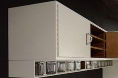 The Cubex kitchen are renewed versions of the legendary Cubex kitchen created in 1930 by Louis Herman De Koninck Belgian modernist architect. Villa, Aluminium, Bathroom Medicine Cabinet, Kitchen Design, Kitchen Cabinets, Interior Design, Storage, Kitchens, Furniture