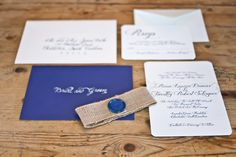 pretty invite suite with burlap belly band and wax seal by Dodeline Design