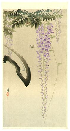 Artist: Ohara Koson Title: Bee & Wisteria Date: Medium: Japanese Woodblock Print Size: x inches Japanese Artwork, Japanese Painting, Japanese Prints, Chinese Painting, Chinese Art, Chinese Brush, Ohara Koson, Art Japonais, Japanese Flowers