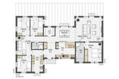 Vallvik planlösning - plan 1 Sätt entré där tvättstugan är och tvätt där entrén är Future House, My House, Construction, House Layouts, House Floor Plans, Beautiful Homes, Building A House, Sweet Home, New Homes