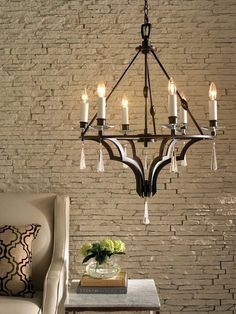 The rich subtlety of this chandelier is sure to impress and enhance the value of your home. Features a rich dark brown finish with crystal cups and droplets. Rustic Chandelier, Rustic Lighting, Crystal Light Fixture, Living Room Photos, Rustic Bathrooms, Cottage Design, Rustic Interiors, Rustic Design