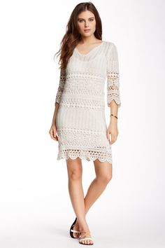 Crocheted Lace V-Neck Dress