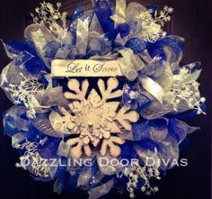 Let It Snow Blue Silver and White Deco Mesh Snowflake Wreath on Etsy, $85.00