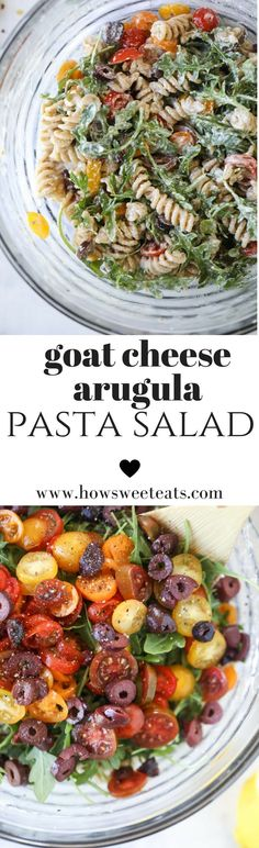 Creamy Goat Cheese Pasta Salad with Arugula and Cherry Tomatoes by @howsweeteats I howsweeteats.com