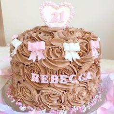 Chocolate Nutella buttercream rosette cake 🎂🎀🍫💕 Facebook.com/cakesbycatherinex