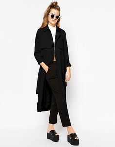 $68, Black Trenchcoat: First I First I Trench Coat. Sold by Asos. Click for more info: http://lookastic.com/women/shop_items/167305/redirect