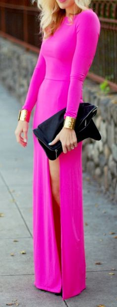 Im obsessed with this. Hot pink, long sleeve maxi with slit. Nothing like a hot pink & black combo. Neon Pink Dresses, Pink Maxi, Fuchsia Dress, Magenta, Bright Dress, Mode Style, Style Me, Classy Style, Fashion Clothes