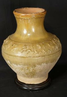 Han (206BC-220AD) amber pot with carved shoulder measures 28.5cm