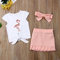 Kids Baby Girls Flamingo T-Shirt Dress Skirt Outfit Girls Fashion Clothes, Baby Girl Fashion, Kids Fashion, Summer Shorts Outfits, Kids Outfits, Cute Baby Costumes, Baby Dress Patterns, Skirt Patterns, Coat Patterns