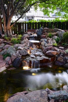 backyard water feature on a hill - Google Search