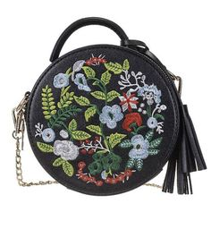 Buy Women's Ethnic Style Embroidered Round Crossbody Shoulder Bag Top Handle Tote Handbag Bag - Black - and More Discount Women Tote Bags Sale up to off. Crossbody Shoulder Bag, Shoulder Handbags, Shoulder Bags, Crossbody Bags, Black Handbags, Tote Handbags, Clutch Bags, Bordado Floral, Lace Gloves