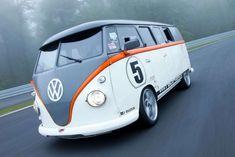 Porsche-Powered Volkswagen Bus 'Race Taxi' Debuts At Wörthersee Volkswagen Transporter, Volkswagen Bus, Vw T1 Camper, Kombi Motorhome, Porsche 993, Porsche 911 Engine, Mini Vans, Ford Granada, Kombi Last Edition