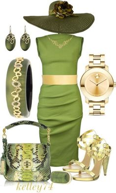 A fashion look from March 2013 featuring green mini dress, shoes and man leather shoulder bag. Browse and shop related looks. Derby Attire, Derby Outfits, Komplette Outfits, Classy Outfits, Pretty Outfits, Fashion Outfits, Womens Fashion, Classy Dress, Green Fashion