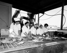 These Tongan and Samoan womenworking onan Auckland factory's fish processing line in 1977 were part ofthe wave of Pacific immigrants after the Second World War. Production lines in factories absorbed many of these new arrivals, and in some industries they were the majority. This made them particularly vulnerable when New Zealand manufacturing collapsed in the later 1980s. In the early 1990s around a quarter of Pacific people in New Zealand were unemployed (a much higher rate than that of…