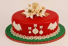 Red Christmas Cake with White Poinsettias