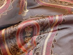 "STUNNING PAISLEY 100% SILK LAMPAS FIRE-AGE PAISLEY """"COFFEE"" BROWN RED BTY"
