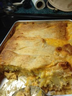 Leftover Thanksgiving casserole:  can of crescent rolls spread out and covered with cheez whiz, leftover stuffing, corn, mashed potatos, drizzle gravy over, cover with leftover turkey and sprinkle shredded cheddar cheese then top with another can of crescent rolls.  Cover with aluminum foil and bake at 350 for 45 mins.  Take the foil off the last 5-10 mins to brown the top.  Perfect way to get all the flavors of Thanksgiving and use up those leftovers!