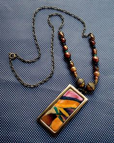 Autumn Necklace Polymer clay with Glass Metal and by MandarinMoon