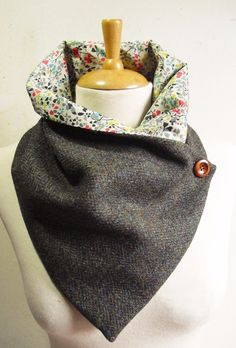Handmade Scarf/Snood made from Genuine Harris wool tweed with a super soft Liberty Tana lawn lining which compliments the tweed beautifully and is soft next to the skin. Ideal for keeping your neck warm without the bulk of a normal wool scarf. | eBay!