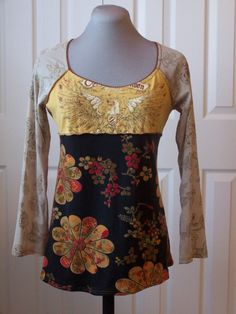 upcycled top for fall by deirdremcgeheedesign on Etsy Diy Clothing, Sewing Clothes, T-shirt Refashion, Umgestaltete Shirts, Recycled T Shirts, Altered Couture, Creation Couture, Altering Clothes, Cycling Outfit
