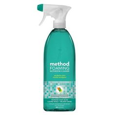 Method's Foaming Bathroom Cleaner uses PowerGreen® technology to dissolve mold and mildew stains, soap scum and grime. This naturally derived, non-toxic, environmentally-friendly formula adds a fresh scent to your bathroom.