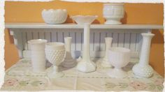 On Sale!  Collection of Vintage Milk Glass and White Glassware, 10 Piece Set, Vases, Dishes, Weddings, Home Decor, Table Centerpieces on Etsy, $50.00