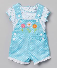 This Blue Polka Dot Tee & Overalls - Infant is perfect! #zulilyfinds