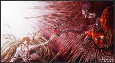 Light Yagami and the shinigami Ryuk from Death Note. [link] The Death Note