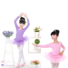 Child Show Costume Pink Sequin Dress Long Sleeve Ballet Tutus