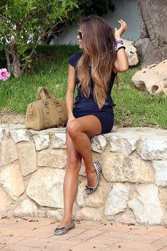 dark blue summer dress beige handbag sunglasses shoes bracelet fashion women outfit clothing style apparel