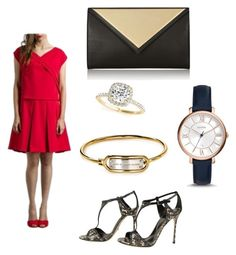 """""""red dress outfit"""" by livlovcollection ❤ liked on Polyvore featuring Givenchy, FOSSIL, Marc by Marc Jacobs, Sergio Rossi and Allurez"""