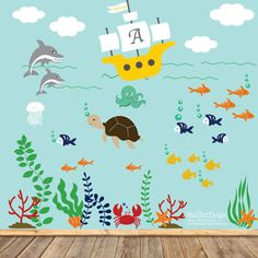 This listing is for a ocean theme decal set, all you get is the die cut stickers.   { Decal Kit Includes }  *Sailboat with custom name *octopus