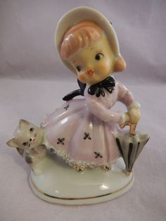 $29.99  VNTG Figurine Southern Belle Girl & Kitty Cat & Umbrella Spaghetti Dress #6A223