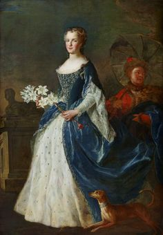 """Portrait of Marie Leszczyńska, Queen of France with lilies, a servant in Polish costume and a dog wearing a collar that reads """"Je suis à la Reine"""" (I belong to the Queen) by Alexis-Simon Belle, 1726 (PD-art/old), Château de Versailles, the Queen was portraited in a costume inspired by Polish jupeczka"""