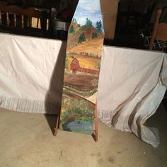 Painted Ironing Board, Antique Ironing Boards, Wood Ironing Boards, Painted Boards, Primitive Painting, Old Drawers, Iron Board, Craft Things, Garden Decorations