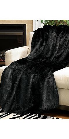 Classic Black Mink Faux Fur Throw / Faux Fur Blanket 60 x 60 by Fabulous-