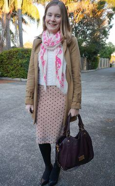 Away From Blue | Winter Office Wear pink polka dot skirt crochet jumper trench coat