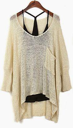 Luulla Fashion Apricot Bat Sleeves Sweater