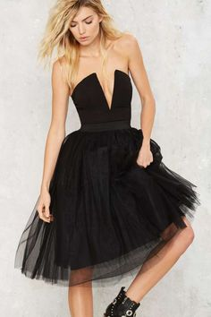 Rare London Power Tulle Plunging Mini Dress