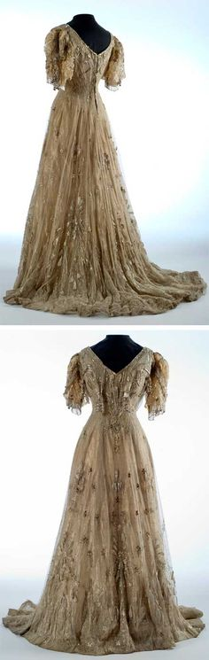 Evening Gown, 1905-10. Silk, glass, silver, lamé, lace. Imported by Whelen. Shelburne Museum    jαɢlαdy