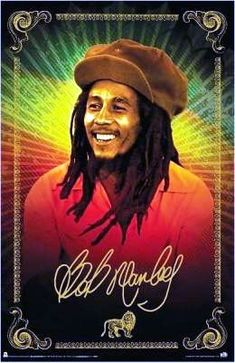 "Bob Marley - Radiant Portrait Poster $8.99  This Marley poster is a portrait of Bob Marley wearing a floppy hat with rasta colors that radiate out from the background. The approximate poster size is 24"" x 36"". Officially licensed Bob Marley merchandise."