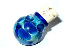 Blue Dots glass stash jar bottle