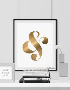 Ampersand gold print Ampersand printable poster by ArtFilesVicky Print Design, Graphic Design, Gold Print, Wall Decor, Wall Art, Summer Trends, Poster Wall, Wedding Gifts, Cool Designs