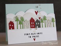 Holiday Village card featuring Essentials by Ellen and Pretty Pink Posh. #prettypinkposh #stitchedborders2