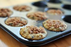 Original recipe for oatmeal blueberry muffins.  I traded the blueberries for cranberries and added almond slices to the mix and crumble topping - loved it!! Perfect for breakfast or dessert.
