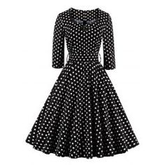 SHARE & Get it FREE | Retro Sweetheart Neck Polka Dot Printed Flare DressFor…