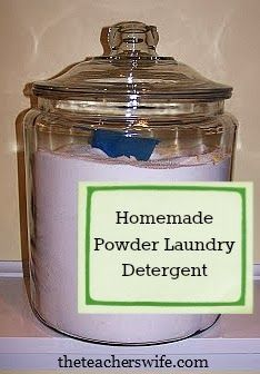 Homemade Powder Laundry Detergent.  This recipe is easy and a batch will last you for a long time!  I haven't bought laundry detergent since discovering this recipe and will never go back.