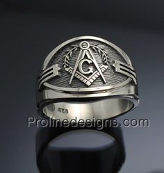 Masonic Ring - Cigar band style 027A - in Sterling Silver